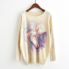 The women's unicorn sweater is soft, comfy and durable . This unicorn clothing for girls features an adorable cartoon unicorn! The geeky unicorn sweatshirt is great for year round use with its' lightweight and super soft blend material. Cardigans For Women, Gear Best, Unicorn Print, Cartoon Unicorn, Casual Tops For Women, White Casual, Batwing Sleeve, Long Sleeve, Tents