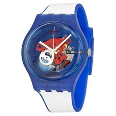 Swatch-Clownfish-Blue-Red-Transparent-Dial-Mens-Quartz-Watch