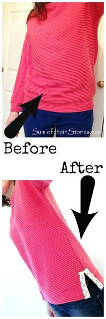 Fix for a top that is too tight around the bottom (Diy Clothes) Sewing Hacks, Sewing Tutorials, Sewing Projects, Sewing Patterns, Diy Projects, Umgestaltete Shirts, Sewing Alterations, Clothing Alterations, Diy Vetement