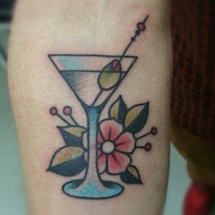 traditional martini tattoo  Would look better as a lemon drop