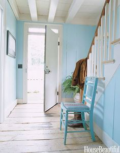Entryway painted Blue Seafoam by Benjamin Moore. Design: Ruthie Sommers.