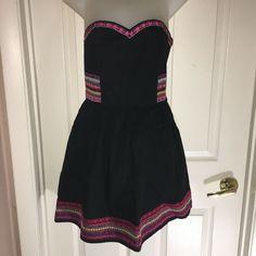 HM JR US 6 EUR 36 STRAPLESS MINI DRESS BOHEMIAN BLACK W MULTI MINI FLAIR  #HM #FitFlareMini Bolero Sweater, Ebay Dresses, Strapless Mini Dress, Jr, Bohemian, Summer Dresses, Sweaters, Black, Fashion