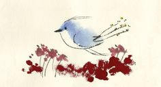 Watercolor bird. Animal study. Other simple watercolor paintings of animals by this Korean watercolor blogger.