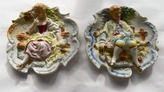 TWO VTG CHASE 3D HAND PAINTED BISQUE WALL HANGING VICTORIAN MAN WOMAN ON BENCH