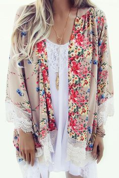 Beautiful boho floral and lace kimono