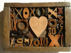 Old Letterpress Printing Wood Type Graphic Design Heart With Lots of X's & O's