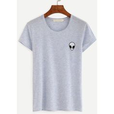 Blue Alien Embroidery Patch Slub T-shirt ($9.99) ❤ liked on Polyvore featuring tops, t-shirts, blue, round neck top, embroidery t shirts, blue short sleeve top, blue top and stretch top