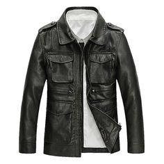 Motorcycle Style Outdoor PU Leather Multi Pockets Epaulets Jacket for... (120 BAM) ❤ liked on Polyvore featuring men's fashion, men's clothing, men's outerwear, men's jackets, mens slim jacket, mens zip up jackets, mens slim fit jacket, mens brown leather motorcycle jacket and mens motorcycle jackets