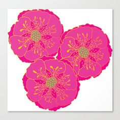 Pink Floral Stretched Canvas by nandita singh - $85.00