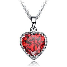 Valentines Day Gift for Her Wife Love Womens Red Heart Pendant Necklace New  #ValentinesGift