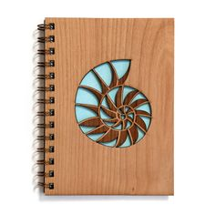 Nautilus Patchwork Shell Wood Journal | Laser cut engraved wood notebook