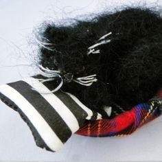 Black Cat Nap Ornament - 3D Textile Art, Paradis Terrestre - Luxury British Made Accessories & Homeware