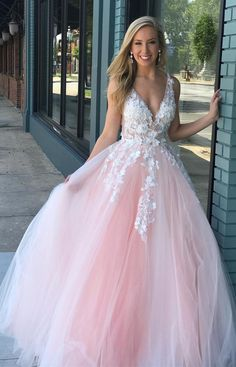 a5be1e6ea7bb Pink tulle ball gown prom dress with ivory lace applique. Prom Dresses 2019 ,long