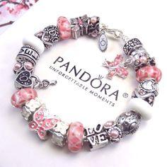 Authentic Pandora Silver Bracelet with Charms Love Heart Butterfly Murano beads #PandoraBracelet #European