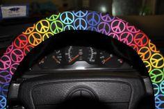 Multicolored Steering wheel cover Rainbow Peace Sign wheel