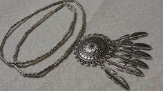 Dream Catcher Pendant Silver Tone Tube Beaded Necklace #Pendant