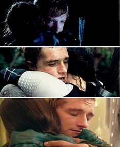 You can see it in Peeta's eyes how his love has grown for Katniss over time. Even though he has been high jacked, his eyes are completely closed and he looks so calm in the third picture.