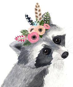 Acuarela Racoon bosque vivero arte animales pinturas arte Cute Animal Drawings, Cute Drawings, Watercolor Animals, Watercolor Paintings, Raccoon Drawing, Illustrations, Illustration Art, Baby Animals, Cute Animals