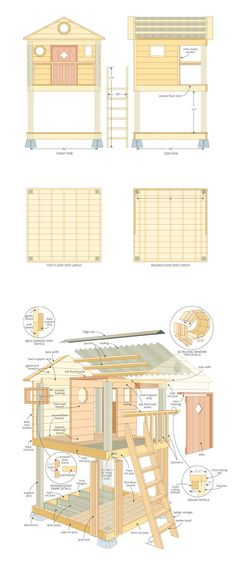 Kids playhouse woodworking plans. I would take this and adjust the height for a slide, include more of an angle on the ladder for my younger son and put a beam out the side for a swing ...