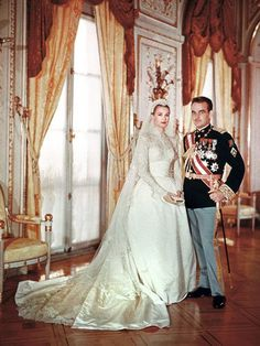 Grace Kelly at her wedding to Prince Rainier, 1956. Who says there's anything wrong with covering up? In a gown that inspired Kate Middleton's wedding dress, the American actress is positively regal.