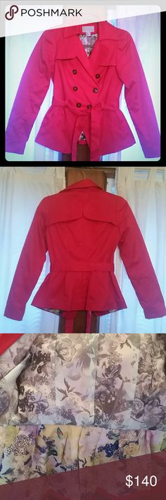 H&M Red Winter/Fall Blazer Pea Coat! I absolutely love this jacket! Look at the inside! Price is firm on this one!  No stains! I have babied it H&M Jackets & Coats Pea Coats