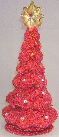 Red Christmas Tree with Star INO Schaller German Paper Mache Candy Container