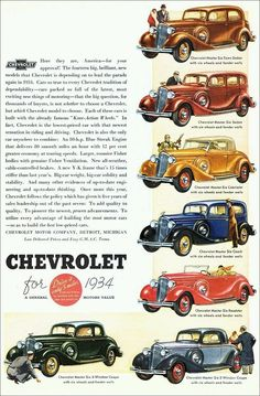 1934 Chevrolets with twin fender-well spare wheels Vintage Advertisements, Vintage Ads, Vintage Posters, Vintage Vogue, Car Posters, Poster Ads, Old Trucks, Chevy Trucks, Car Advertising