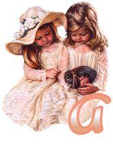 Alfabeto retro de nenas con conejito.