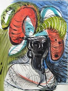 """""""Costerwoman I"""" by Ceri Richards, 1942 (Ink, pencil and watercolour)"""