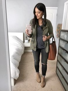 Utility Jacket + Striped Tee + Gray Jeans + Booties
