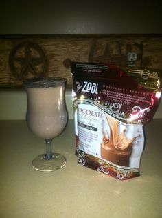 1cup 2% milk, 1 scoop zeal chocolate protein shake, 1 small banana! Blend in Blender! Tastes like a chocolate banana milk shake! Love to have this for breakfast & about 30 min. before I go for a run! Approximately 310 calories! I replace a meal with this shake! We also have vanilla!  www.leisatelinde.zealforlife.biz