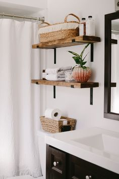 Industrial Shelving In The Bathroom. How to make the easiest DIY Rustic Industrial Shelving in Under 10 minutes and 20 dollars farmhouse bathroom shelves Industrial Shelving In The Bathroom - Jessica Sara Morris Diy Home Decor For Apartments, Apartments Decorating, Living Room With Fireplace, Fireplace Mantel, Bathroom Furniture, Bathroom Ideas, Bathroom Organization, Bathroom Storage, Bathroom Interior