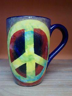 HIPPIE  Peace Sign Mug no writing on back on Etsy, $30.00