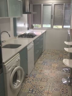 #Kitchen surrenders at the feet of Heritage... There's no better way to give it a funny, decorative and bright touch to this space than with our #hydraulic #mosaic.  Just in love with the result of this #refurbishment!  #ceramics #tiles #flooring #floortiles #kitchendesign #interiordesigner #kitchenflooring #architect #mosaics #mosaicflooring