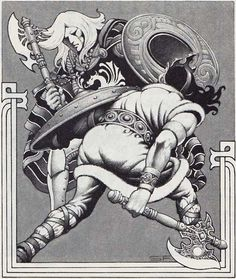 A deadly dance with axe and shield.  (Stephen Fabian, Dragon No 118, TSR, February 1987.)
