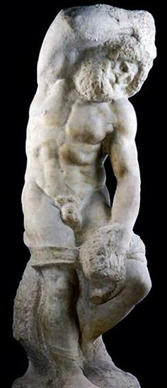 The Bearded Slave of Prisoner - unfinished mable by Michelangelo, circa height 263 cm, - at the Gallery Academia in Florence Michelangelo Sculpture, Renaissance Art, Art And Architecture, Prisoner, Florence, Gallery, Nantucket, Painting, Collections