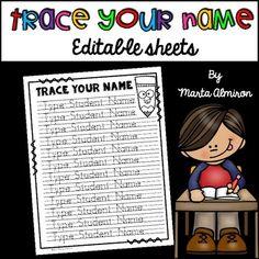 Trace Your Name - EDITABLE {Monthly Freebie for September} Kindergarten Names, Preschool Names, Preschool Schedule, Name Activities, Preschool Learning Activities, Preschool Lessons, Teaching Kindergarten, Writing Activities, Name Tracing Templates