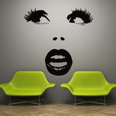 Great for a nail salon, hair salon, opticical store, make-up salon. Wall decal decor decals art girl face lips sexy by DecorWallDecals, $27.98
