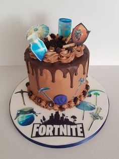The cake for all those Fortnite fanatics. You might just get them off their consoles long enough to blow out their candles and take away a slice!  Book now in Shoreham-by-Sea and all surrounding Brighton areas Chocolate Drip Cake, Drip Cakes, Brighton, Consoles, Wedding Cakes, Birthdays, Birthday Cake, Sea, Coffee
