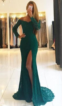 Mermaid Prom Dress,Lace Prom Dress,Off-the-Shoulder Long Sleeves Prom