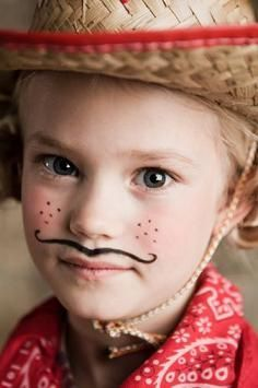 Cowgirl Party Ideas - not sure why she needs a mustache but, hey, OK.