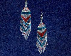 Red White Blue Earrings, 4th of July Earrings, Indian Jewelry, Seed Bead Earrings, dangling earrings,Native American jewelry earrings