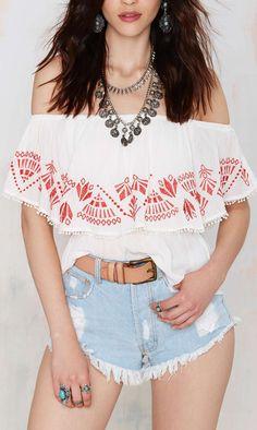 Off shoulder embroidered top