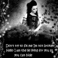 Don't try to fix me I'm not broken.Hello?I'm the lie living for you so you can hide,don't cry. Evanescence lyrics-Hello.