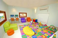 Stunning Experience in Exotic Escape : Cheerful Kid Room  Colorful Sofas Various Toys White Desk