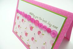 Pink Cherry Birthday Card Pink Button Greeting by periwinklecards, $4.50