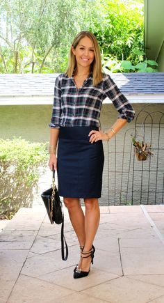 Casual Work Outfits For Women with Skirt . - Casual Work Outfits For Women with Skirt – - How To Wear Flannels, Plaid Shirt Outfits, Outfits Fo, Casual Work Outfits, Business Casual Outfits, Business Dresses, Work Attire, Fashion Outfits, Tartan Shirt