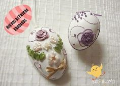 gift for easter: embroidery on real eggshell. Types Of Embroidery, Ribbon Embroidery, Easter Table Decorations, Egg Crafts, Ideas Geniales, Sewing Material, Egg Art, Egg Shells, Easter Gift