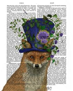 The Mad Hatter Fox Print Alice in wonderland decor by FabFunky