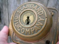 Rare Vintage Old Antique Brass Standard Oil Company Door Knob w/Plate & Lock Knobs And Knockers, Door Knobs, Door Handles, Raiders, Hinge And Bracket, Antique Brass, Antique Hardware, Old Gas Pumps, Standard Oil
